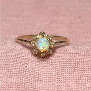 Victorian 14k Yellow Gold Opal Diamond Halo Ring